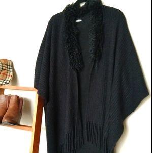 Calvin Klein 14 Black poncho with faux fur collar.